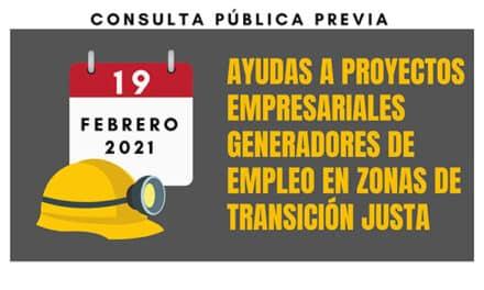 El Instituto para la Transición Justa lanza la consulta previa de ayudas para proyectos empresariales generadores de empleo en zonas de transición justa