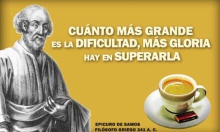 Epicuro, La frase positiva del día. Sobrecito de azúcar